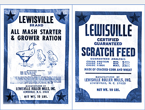 Lewisville Roller Mills starter-ration and scratch feed bags