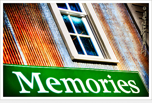 Memories sign at the Enchanted Cottage and Scrapbook Store (the former Lewisville Roller Mills) in Lewisville, North Carolina (Forsyth County). Deb Phillips, photographer.