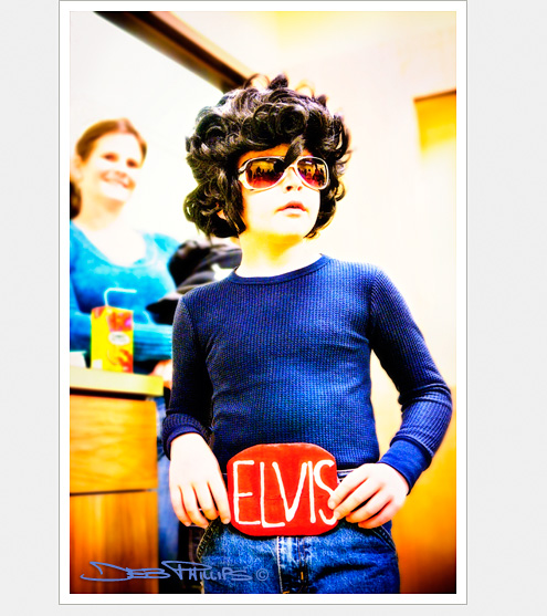 A young Elvis trick-or-treater at the Lewisville Library Halloween Party in Lewisville, North Carolina (Forsyth County). Deb Phillips, photographer.