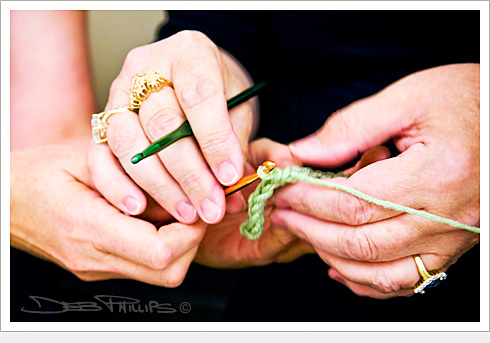 Close-up of crochet demonstration during a crochet class at the Lewisville, North Carolina Library (Forsyth County) - Deb Phillips, photographer.