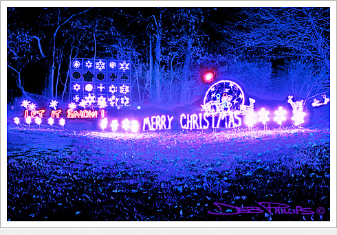 Outdoor Christmas lights at the residence of Clarence and Libby Huie in Lewisville, North Carolina (Forsyth County) - Deb Phillips, photographer.