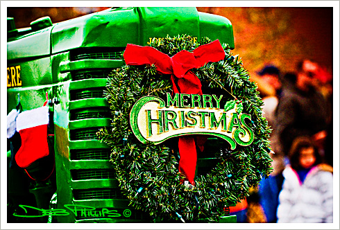 John Deere Tractor with Christmas wreath in the Lewisville, North Carolina 2008 Christmas Parade. Deb Phillips, photographer.