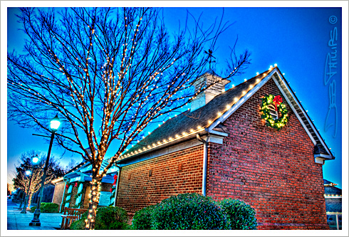 Sunset at Shallowford Square with Christmas lights in Lewisville, North Carolina (Forsyth County) was the perfect time to create this HDR (High Dynamic Range) photo yielding unbelievable detail throughout. Deb Phillips, photographer.