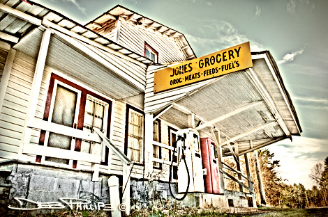 Jones Grocery Store is located in the Township of Lewisville, North Carolina on Shallowford Road in western Forsyth County - washed-out color shot. Deb Phillips, photographer.