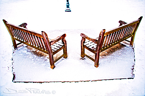 Overhead view of snow-covered benches at Shallowford Square in Lewisville, North Carolina (Forsyth County) - color shot. Deb Phillips, photographer.