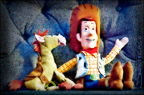 Woody and Bullseye, from the Toy Story movies.