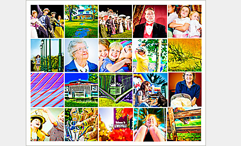 100 Moments Collage (Images 21-40) - Life in Lewisville, North Carolina (Forsyth County). Deb Phillips, photographer.