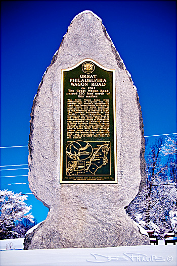 The historic marker of the Great Philadelphia Wagon Road, located in Shallowford Square in Lewisville, North Carolina (Forsyth County). Deb Phillips, photographer.