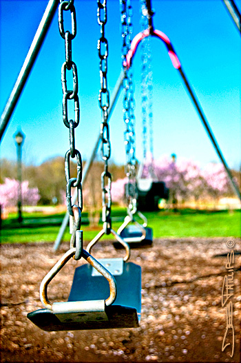 Swings at Shallowford Park on a beautiful spring morning in Lewisville, North Carolina (Forsyth County). Deb Phillips, photographer.