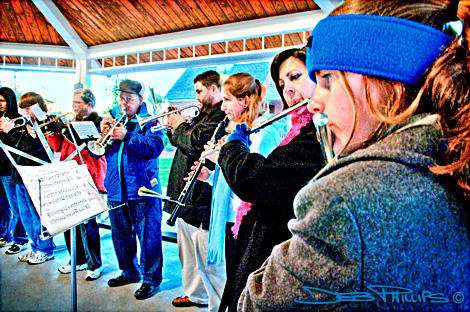 The Unity Moravian Church band played at the Lewisville Community Sunrise Service at Shallowford Square in Lewisville, North Carolina (Forsyth County). Deb Phillips, photographer.