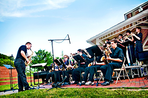 The West Forsyth Jazz Band played in the Music Under the Stars concert. Deb Phillips, photographer.