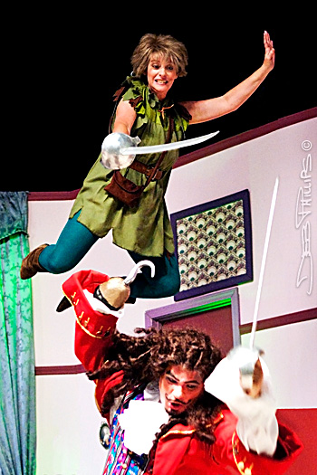 Peter Pan battles Captain Hook in the 2009 production of Peter Pan by the West Side Civic Theatre at Shallowford Square in Lewisville, North Carolina. Deb Phillips, photographer.