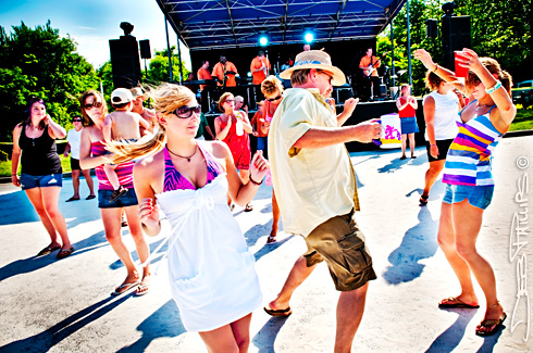 Dancers sway to the music of The Fabulous Kays at the Lewisville Beach Blast. Deb Phillips, photographer.