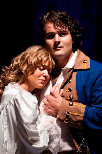 Mary Lea Williams and Josh Collier play Mabel and Frederick in The Pirates of Penzance, presented by the West Side Civic Theatre (WSCT) at Shallowford Square in Lewisville, NC.