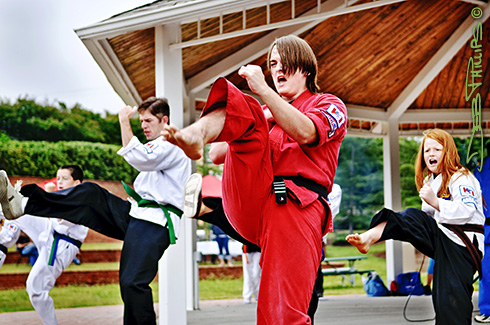 A group of karate students from Karate International of Lewisville gave a commanding performance.