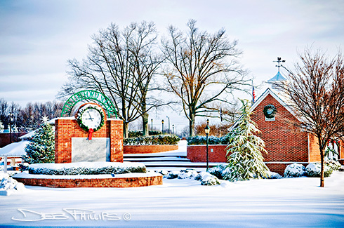 A beautiful freshly fallen snow scene of Shallowford Square in Lewisville, NC in Forsyth County, photographed by Deb Phillips.